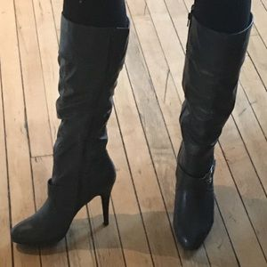 Dark Grey Leather Boots